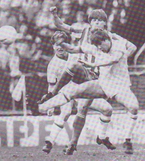 Andy Ritchie Challenges For A High Ball WithGavin Oliver